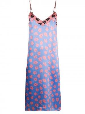 Платье-комбинация с цветочным принтом Equipment. Цвет: синий