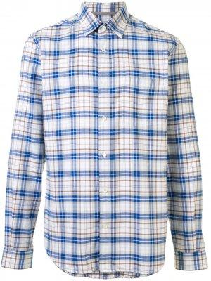Клетчатая рубашка с длинными рукавами Gieves & Hawkes. Цвет: белый