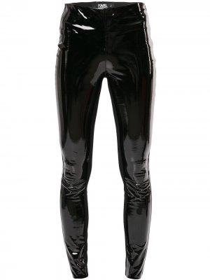 Легинсы из лакированной искусственной кожи Karl Lagerfeld. Цвет: черный