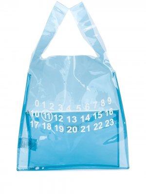 Прозрачная сумка с принтом Maison Margiela. Цвет: синий