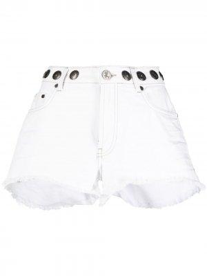 Джинсовые шорты с бахромой и заклепками One Teaspoon. Цвет: белый