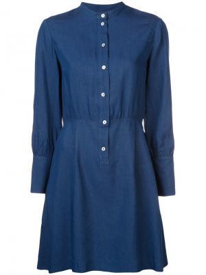 Платье-рубашка без воротника A.P.C.. Цвет: синий