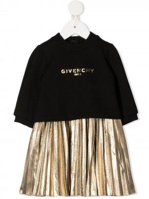 Комплект из платья и свитшота с эффектом металлик Givenchy Kids. Цвет: черный
