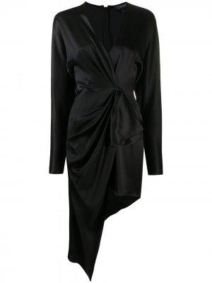 Платье асимметричного кроя с драпировкой Cushnie. Цвет: черный