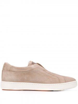 Кроссовки без шнуровки Santoni. Цвет: коричневый