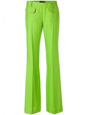 Расклешенные брюки со складками Talbot Runhof. Цвет: зеленый