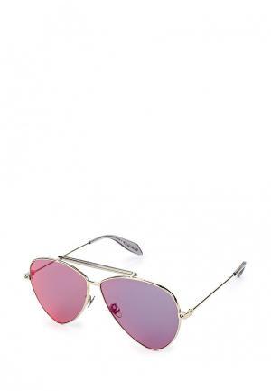 Очки солнцезащитные Alexander McQueen. Цвет: серебряный