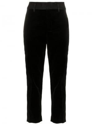 Укороченные бархатные брюки FRAME. Цвет: черный