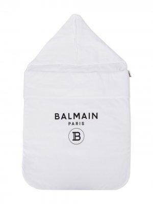 Спальный конверт с логотипом Balmain Kids. Цвет: белый