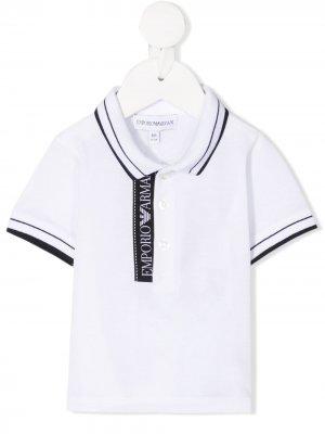 Рубашка поло с полосками Emporio Armani Kids. Цвет: белый