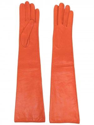 Длинные перчатки Manokhi. Цвет: оранжевый