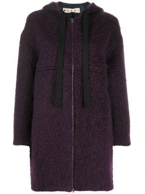 Пальто с капюшоном Marni. Цвет: фиолетовый