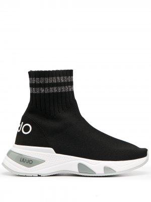 Кроссовки-носки на массивной подошве LIU JO. Цвет: черный