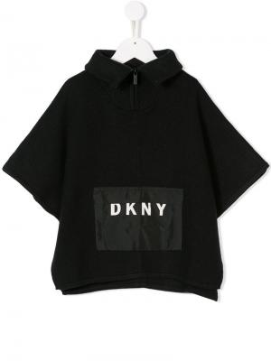 Рубашка-поло с карманом логотипом Dkny Kids. Цвет: черный