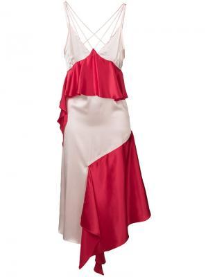 Асимметричное платье с оборками Each X Other. Цвет: красный