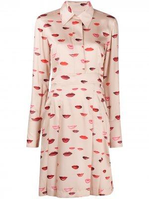 Платье с длинным рукавами и принтом Victoria Beckham. Цвет: нейтральные цвета