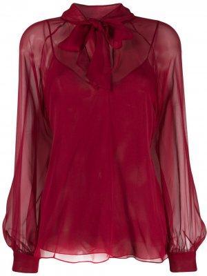 Шифоновая блузка с бантом Emilio Pucci. Цвет: красный