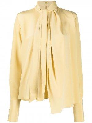 Блузка с длинными рукавами и драпировкой LOEWE. Цвет: желтый