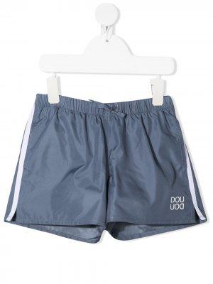 Плавки-шорты с лампасами и логотипом Douuod Kids. Цвет: синий