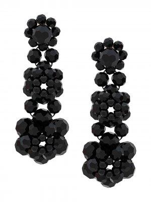 Серьги-кольца с кристаллами Simone Rocha. Цвет: черный