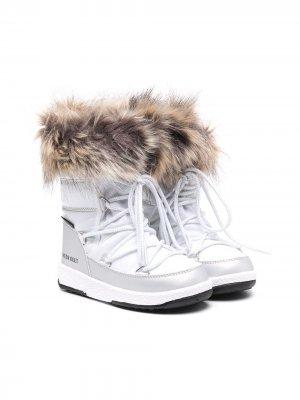 Зимние ботинки Monaco Moon Boot Kids. Цвет: белый