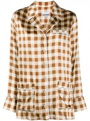 Пижамная рубашка в клетку GANNI. Цвет: коричневый