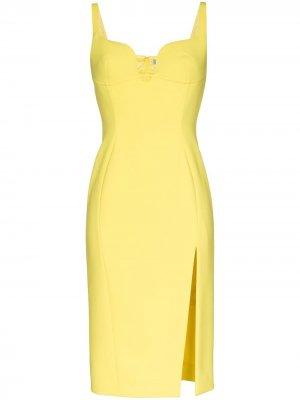 Приталенное платье с глубоким вырезом и разрезом Mugler. Цвет: желтый