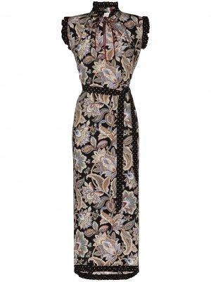Платье Ladybeetle с цветочным принтом Zimmermann. Цвет: черный