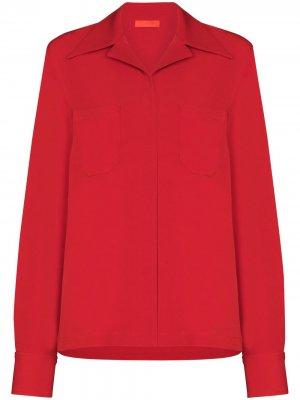 Рубашка с нагрудными карманами Commission. Цвет: красный