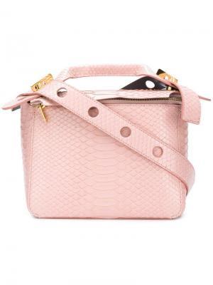 Маленькая сумка Bolt с эффектом крокодиловой кожи Sophie Hulme. Цвет: розовый
