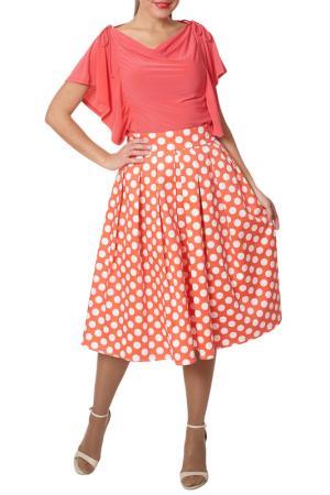 Комплект: блуза, юбка Argent. Цвет: коралловый