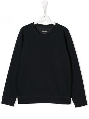 Приталенный свитер с длинными рукавами Emporio Armani Kids. Цвет: синий