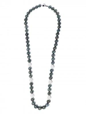 Жемчужное колье Twilight с бриллиантами и цепочкой из белого золота Yoko London. Цвет: серебристый