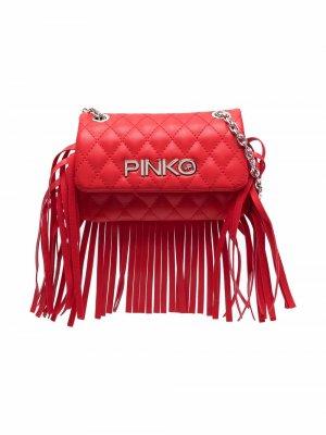 Стеганая сумка на плечо с бахромой Pinko Kids. Цвет: красный