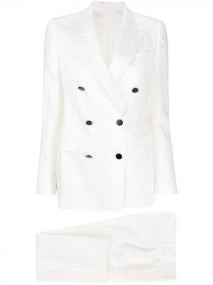 Костюм с двубортным пиджаком Tagliatore. Цвет: белый