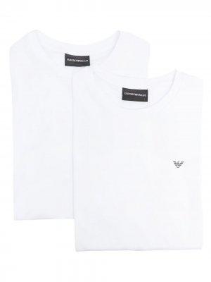 Комплект из двух футболок с логотипом Emporio Armani. Цвет: белый