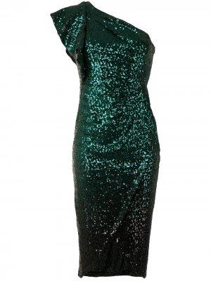 Платье с пайетками и эффектом градиента Marchesa Notte. Цвет: зеленый
