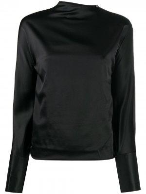 Атласная блузка с длинными рукавами Helmut Lang. Цвет: 001 черный
