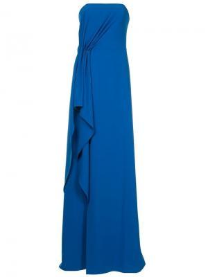 Платье со сборкой Halston Heritage. Цвет: синий