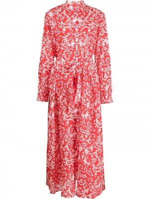Платье Inez с принтом Saloni. Цвет: красный