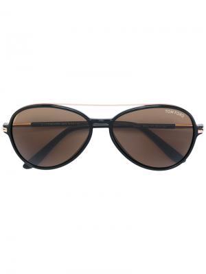 Солнцезащитные очки с двойным мостом Tom Ford Eyewear. Цвет: черный