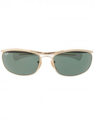Солнцезащитные очки в овальной оправе Ray-Ban. Цвет: золотистый