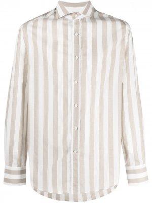 Полосатая рубашка на пуговицах Brunello Cucinelli. Цвет: нейтральные цвета