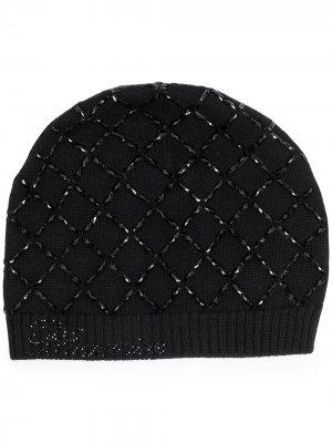 Декорированная шапка бини Blumarine. Цвет: черный