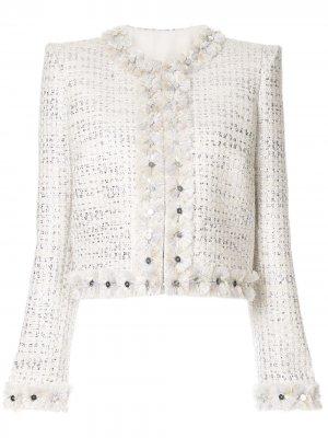 Твидовый пиджак с эффектом металлик Zuhair Murad. Цвет: белый