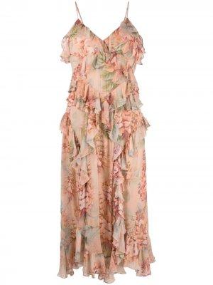 Платье с принтом и оборками Zimmermann. Цвет: розовый