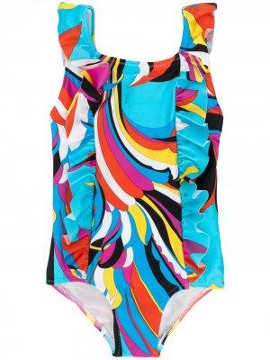 Купальник с оборками и абстрактным принтом Emilio Pucci Junior. Цвет: синий