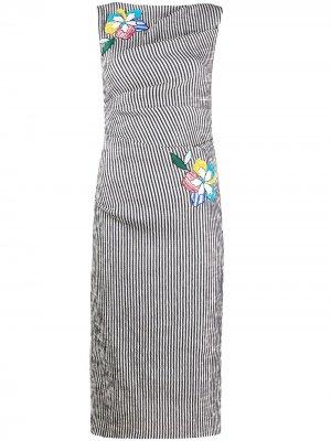Платье в полоску с цветочной аппликацией Talbot Runhof. Цвет: синий