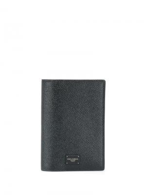 Обложка для паспорта с логотипом Dolce & Gabbana. Цвет: черный