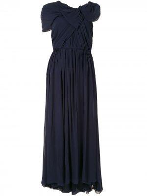 Платье асимметричного кроя с драпировкой Delpozo. Цвет: синий